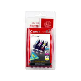 PACK 3 COULEURS CANON JET ENCRE 521 CYAN MAGENTA JAUNE