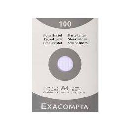 Paquet 100 fiches bristol blanches Q.5x5 21x29.7 non perforées