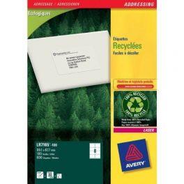 Etiquettes adresses laser recyclées Avery - LR7165 67.7x99.1mm
