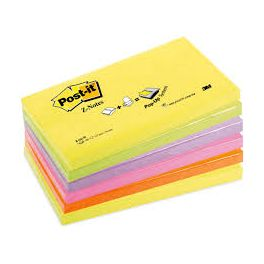 Paquet 6 blocs Z-Notes Super Sticky Post-It 76x127 mm assortis
